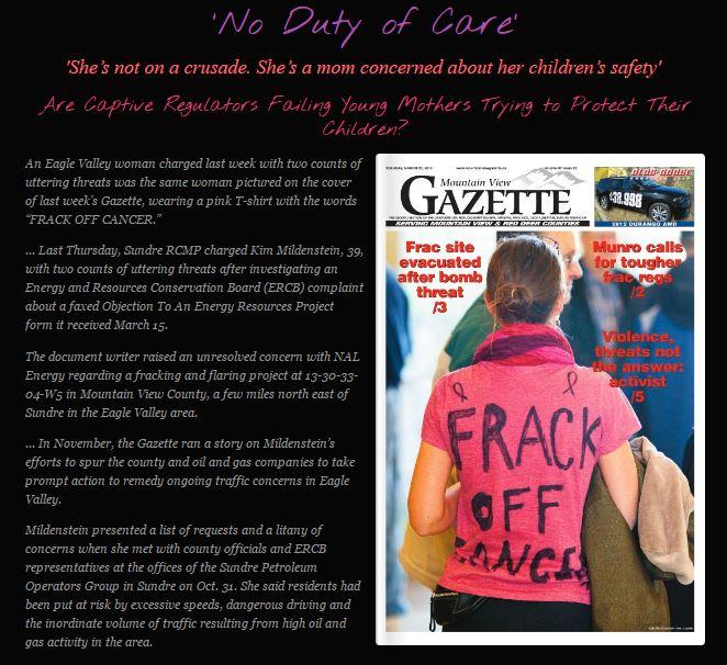 FrackingCanada No Duty of Care